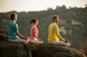 Three Yogis Meditating on top of Siva Hill