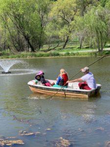 kids in pond